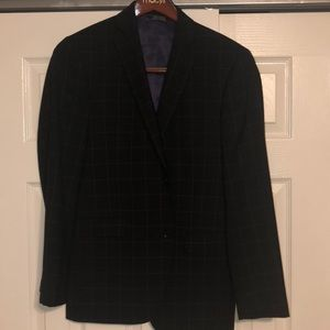 Saks Fifth Avenue red trim fit windowpane suit